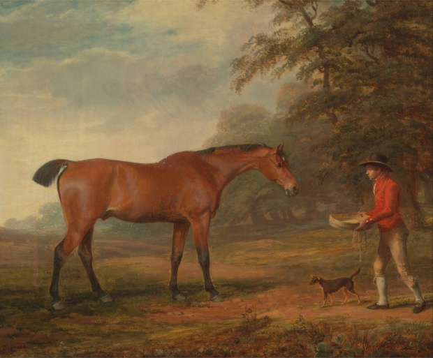 A Bay Horse Approached by a Stable-Lad with Food and a Halter by George Garrard, 1789.