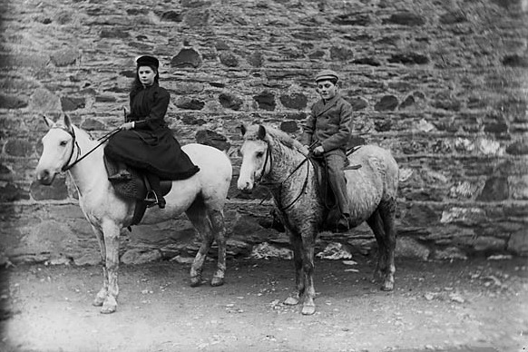 A Girl and a Boy Riding Ponies in Wales, 1885 .(National Library of Wales)