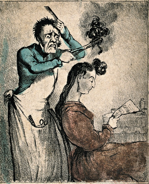 A Hairdresser Accidentally Severing a Woman's Locks with his Curling Tongs, 19th century. (Image via Wellcome Library)