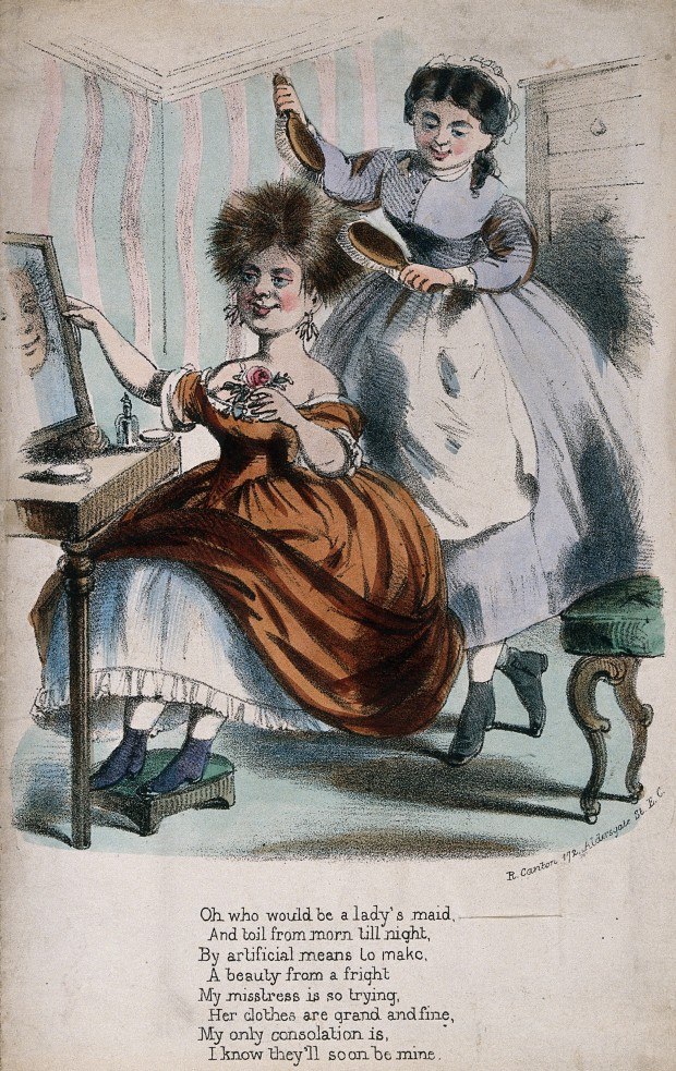 A Woman Seated at her Dressing Table having her Hair Brushed, 19th Century.(Image via Wellcome Library)