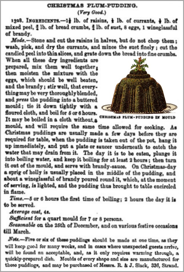 Recipe for Christmas Plum-Pudding from Beeton's Book of Household Management, 1861.