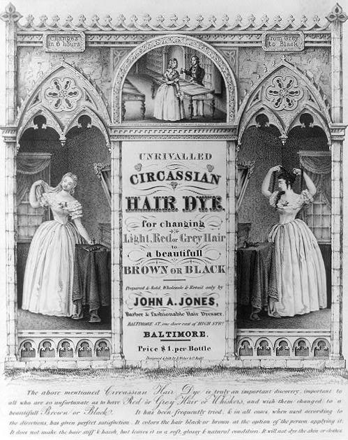 Circassian Hair Dye Advertisement, 1843.