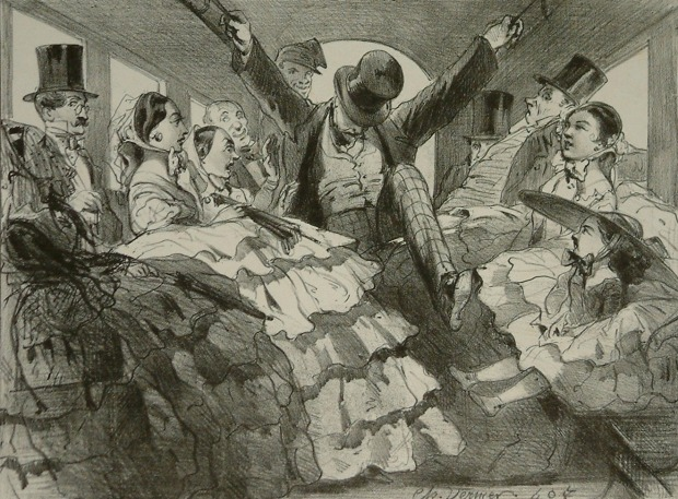 Crinolines on an Omnibus by Charles Vernier, 1850s.