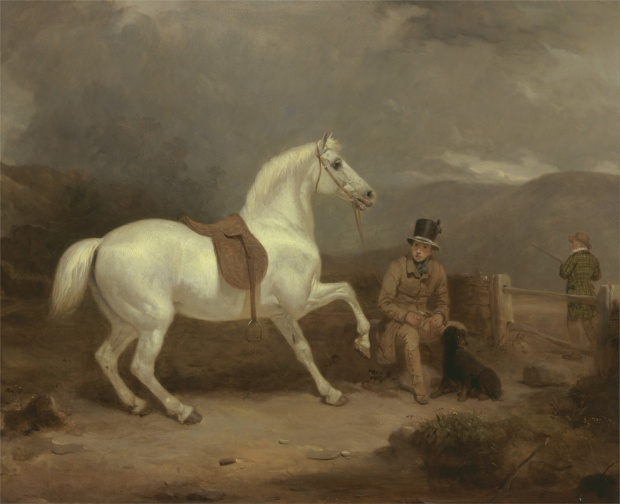 Grey Shooting Pony with a Groom by Thomas Woodward, 1835.