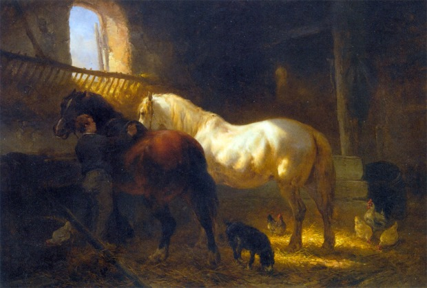 Horses in a Stable by Wouterus Verschuur, 1812-1874.