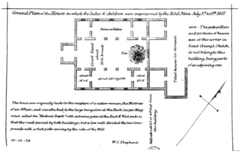 Ground Plan of the House where Women and Children were Imprisoned at Cawnpoor, 1857. (Drawing by W. J. Shepherd, 1879)