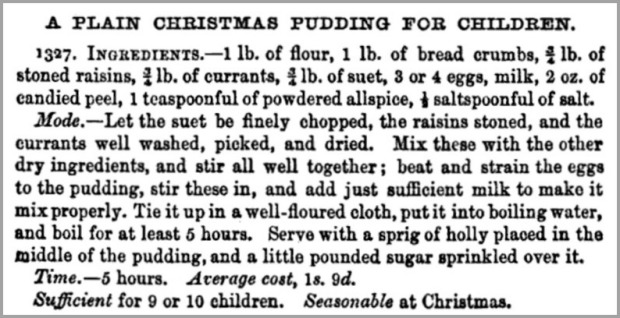 Recipe for Christmas Pudding from Beeton's Book of Household Management, 1861.