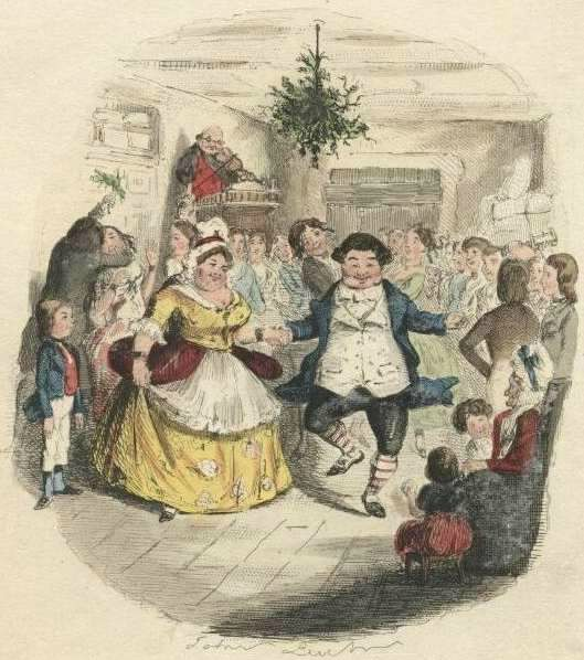 Mr. Fezziwig's Ball Hand colored etching by John Leech from A Christmas Carol by Charles Dickens, 1843.