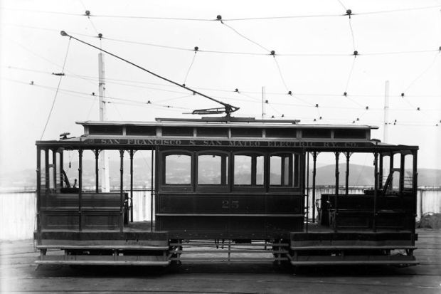 San Francisco and San Mateo Electric Railway Car, 19th Century.