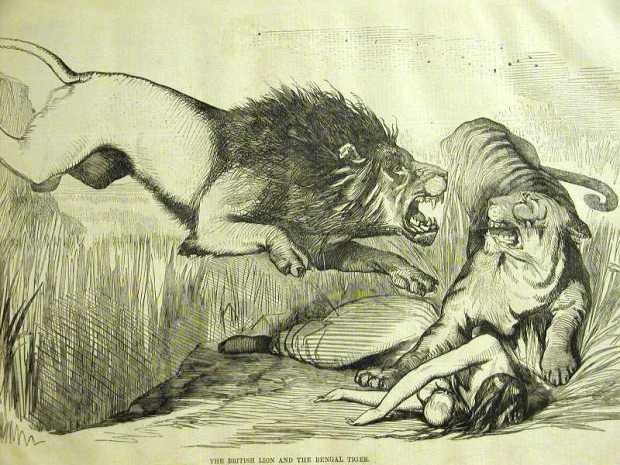 The British lion and the Bengal tiger by John Tenniel for Punch, 1857.