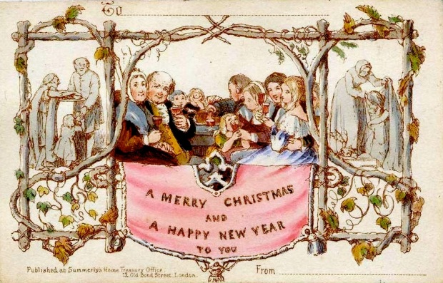The first commercially produced Christmas card, 1843.