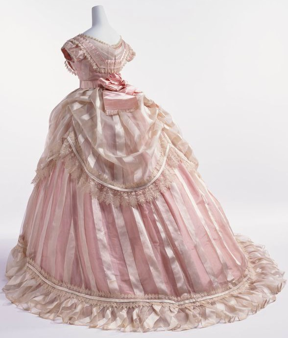 1866 Striped Silk Taffeta Evening Dress. (Image via Kyoto Costume Institute)