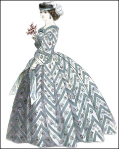 Chevron Organdy Dress, Godey's Lady's Book, 1861.