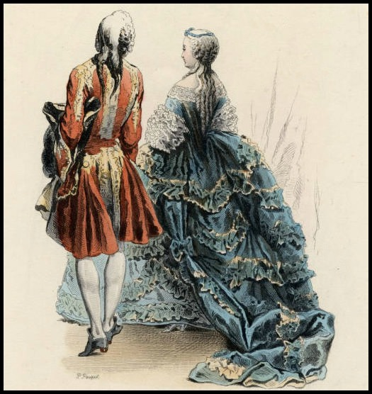 Court dress, Reign of Louis XV, 1745.(Image via Claremont Colleges Digital Library)