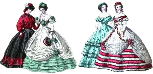 December 1861 and February 1862 Gowns with Petticoats, Englishwoman's Domestic Magazine Illustrations.
