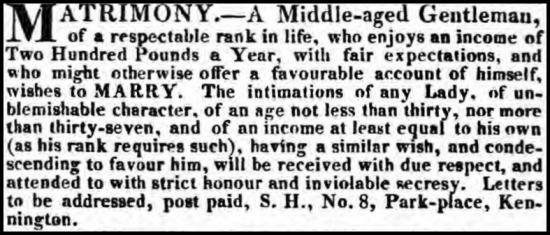 Morning Post, December 19, 1822.