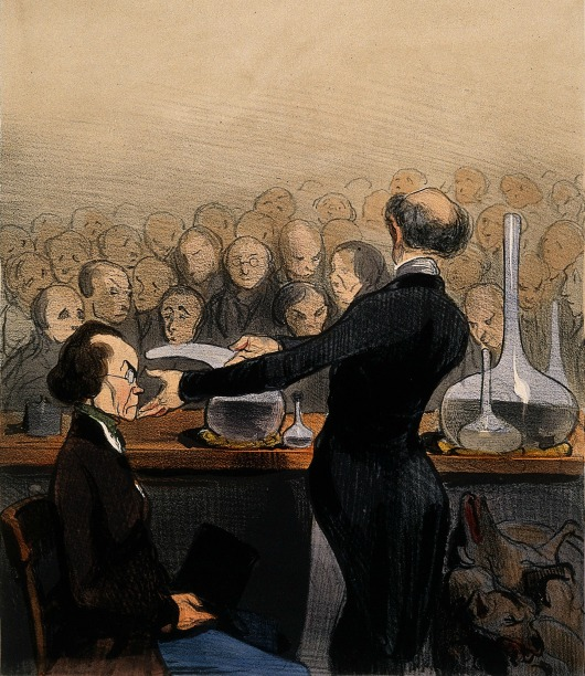 A Chemist Giving a Demonstration Involving Arsenic, coloured lithograph by H. Daumier, 1841. (Image via Wellcome Trust)