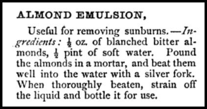 Almond Emulsion Recipe, Beeton's Dictionary, 1871.