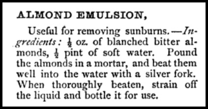 Almond Emulsion Recipe, Beeton's Dictionary, 1871.
