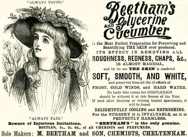 Beetham's Glycerin and Cucumber advertisement, 1890.(Image via History World)