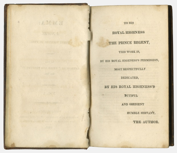 Emma by Jane Austen, Dedication Page, 1816.