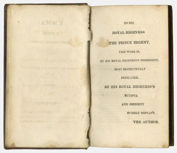 Emma by Jane Austen, Dedication Page, 1816.