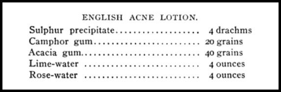 English Acne Lotion Recipe, The Woman Beautiful, 1897.