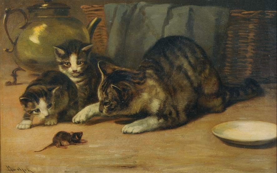 playing cat and mouse by john henry dolph 1835 1903