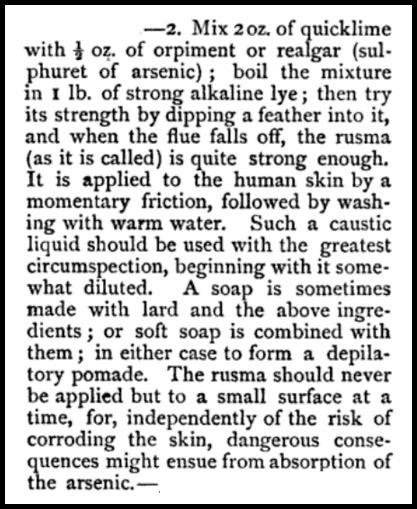 QuickLime Depilatory, Beeton's Dictionary, 1871.