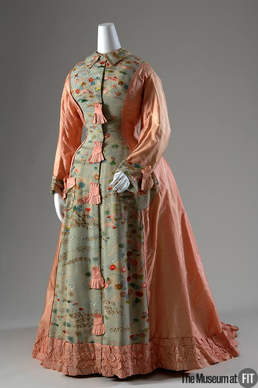 1870 Silk Taffeta Tea Gown made from Kimono Fabric.(Image via Museum at FIT)