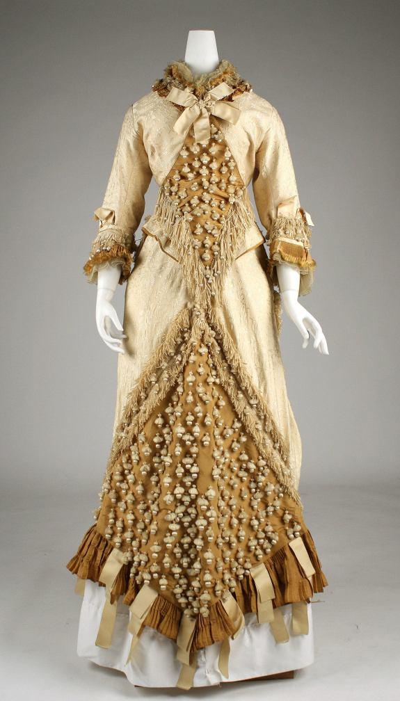 1879-1880 French Silk Dress.Image via Met Museum.