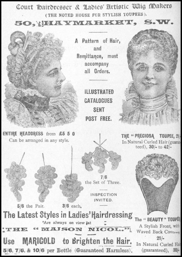 Advertisement for False Hair, 1898.