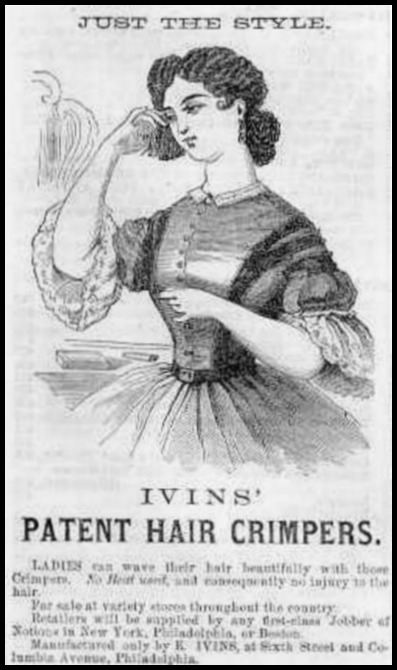 Ivins' Patent Hair Crimper, Godey's Lady's Book, 1865.