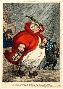 A Midwife Going to a Labour, Coloured etching by T. Rowlandson, 1811.(Image via Wellcome Library CC By 4.0)