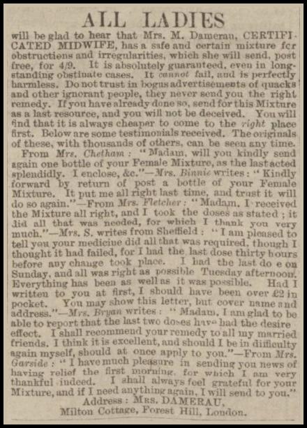 Abortifacient Advertisement, Leeds Times, April 9, 1898.