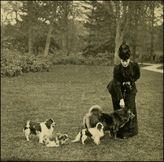 Alexandra of Denmark, Princess of Wales, with her dogs at Sandringham, 1898.(Photo by T. Fall, Baker Street.)