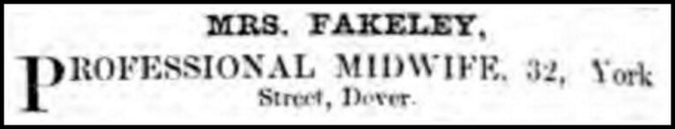 Midwife Advertisement, Dover Express and East Kent Intelligencer, May 3, 1862.