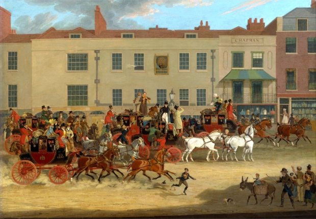 North Country Mails at the Peacock, Islington by James Pollard, 1821.