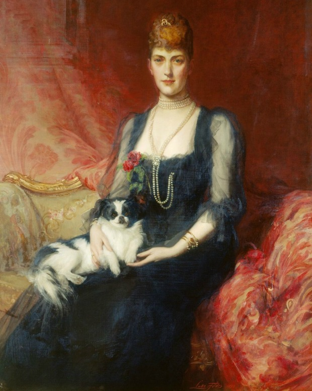 Portrait of Queen Alexandra, when Princess of Wales, with Facey by Luke Fildes, 1893.