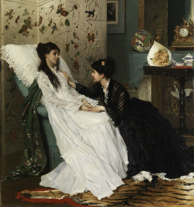 The Convalescence by Gustave Léonard de Jonghe, (1829-1893).