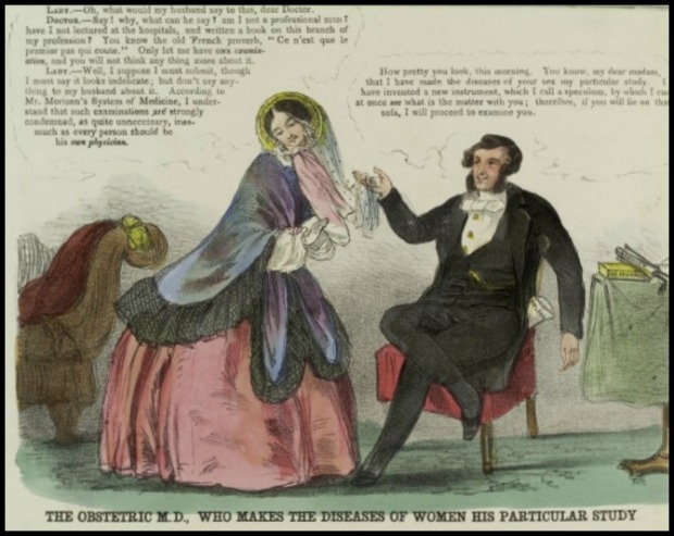 The Obstetric MD, Who Makes the Diseases of Women His Particular Study, Coloured Lithograph, British College of Health, 1852.(Image via Wellcome Library CC BY 4.0)