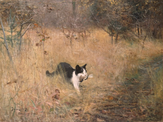 A Cat Bird Hunting by Bruno Liljefors, 1883.