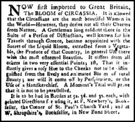 Bloom of Circassia Advertisement, Public Advertiser, April 15, 1772.