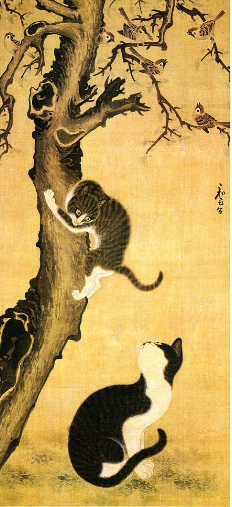 Cats and Sparrows by Byeon Sang-byeok, 1730.