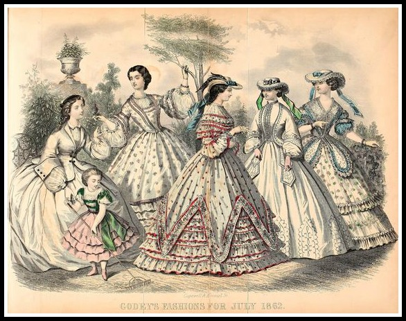 Fashions for July 1862, Godey's Lady's Book.