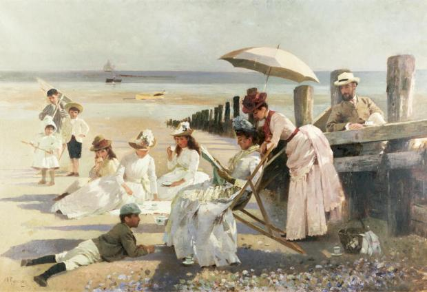 On the Shores of Bognor Regis by A. M. Rossi, 1887.