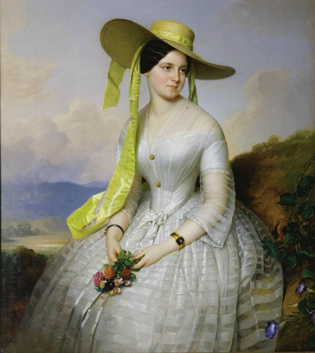 Portrait of a Lady with Hat by Anton Einsle 1801-1871.