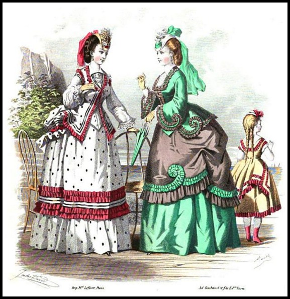 Seaside Costume, Milliner and Dressmaker and Warehouseman's Gazette, 1870.
