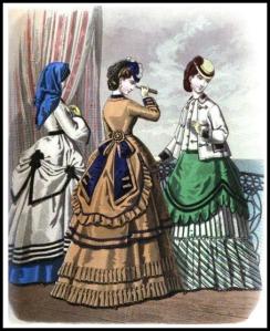 Seaside Costume with Capeline, Ladies Monthly Magazine, 1869.