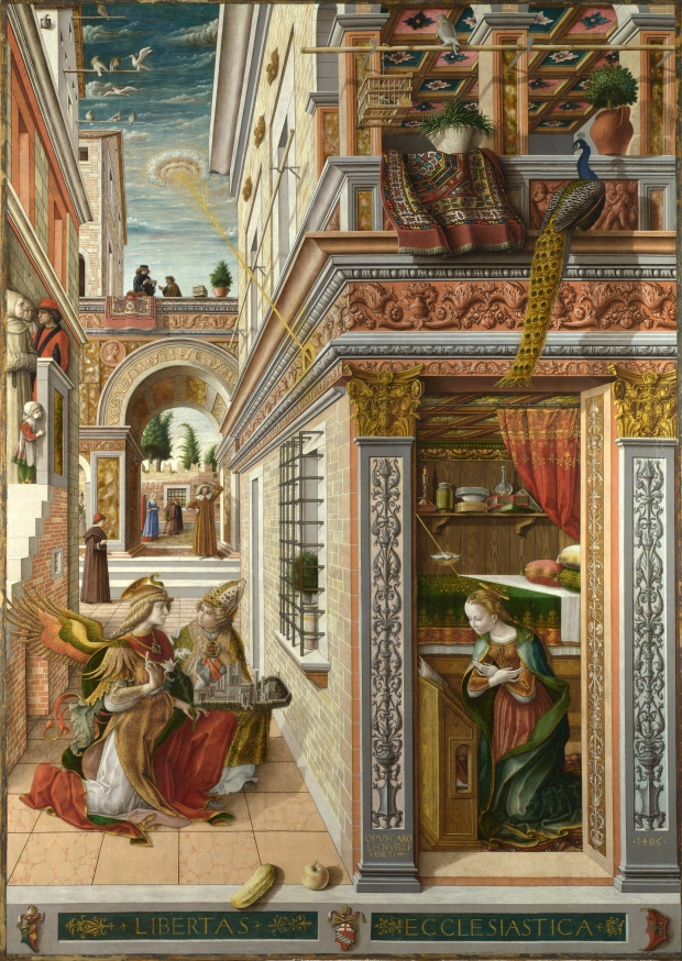 The Annunciation, with Saint Emidius by Carlo Crivelli, 1486.(National Gallery, London)